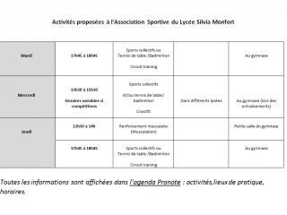 Reprise des activités de l'Association Sportive du lycée Silvia Monfort
