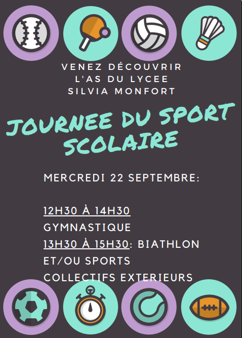 Journée du sport scolaire mercredi 22 septembre