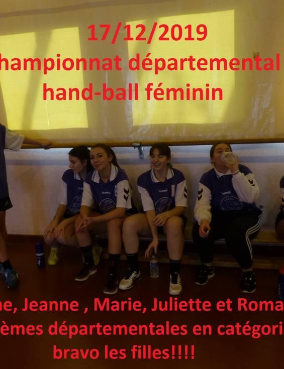 Les dernières nouvelles de l'AS : championnat départemental de Handball féminin