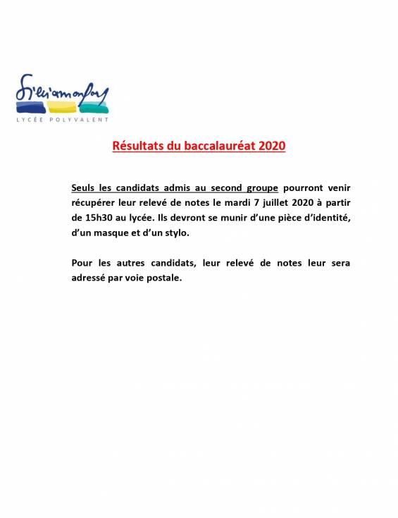 Résultats du bac 2020  - Second groupe